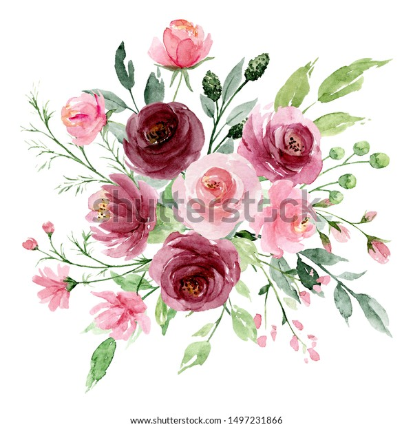 Pink flowers watercolor, floral clip art. Bouquet roses perfectly for printing design on invitations, cards, wall art and other. Isolated on white background. Hand painting.