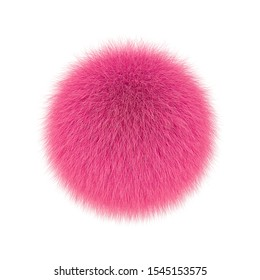 Pink fluffy ball, fur pompon isolated on white background. 3D rendering