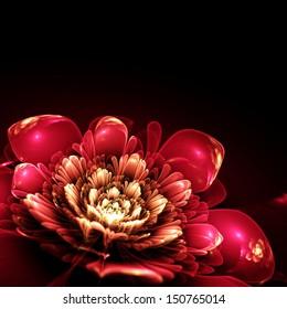 pink fractal flower with golden details on petals, on black background, illustration