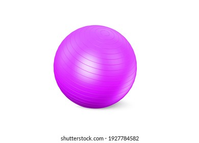 Pink fuchsia fitness ball isolated on white background. Pilates training ball. Fitball 3D rendering model for gymnastics exercises. Gym ball