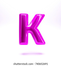 Pink fuchsia glossy celebrate letter K bold and uppercase. 3D render font painted with pink fuchsia  polish and light reflection isolated on white background with clear shadow