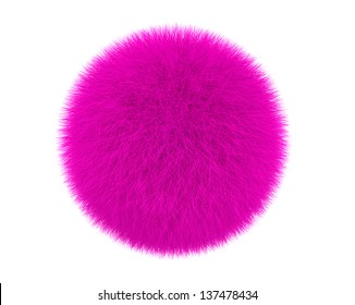Pink fur ball isolated on a white background