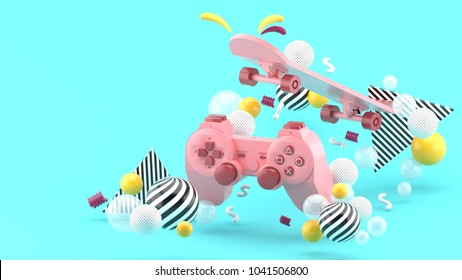 Pink gamepad and skateboard Among the colorful balls on the blue background.-3d render.