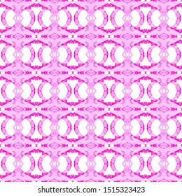 Pink geometric seamless pattern. Hand drawn watercolor ornament. Amazing repeating design. Fabulous fabric cloth, swimwear design, wallpaper wrapping.