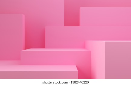 Pink Geometric shapes abstract background. Monochrome decorative elements backdrop.  3d rendering.