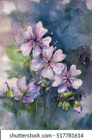 Pink geranium flower in garden.Picture created with watercolors.