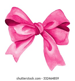 Pink gift bow. Watercolor drawing.