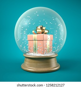 Pink gift box in snow ball 3D illustration