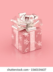 Pink giftbox with shiny silver bow and ribbons. Snowflakes pattern on paper. Realistic 3D rendering.