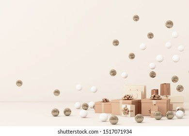 Pink  giftboxs  surrounding by a lot of gold and white ball. 3d rendering