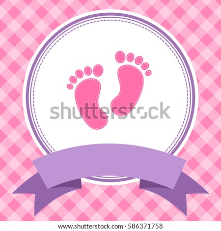 Royalty free stock illustration of pink girl baby shower invitation pink girl baby shower invitation card with footprints raster version filmwisefo