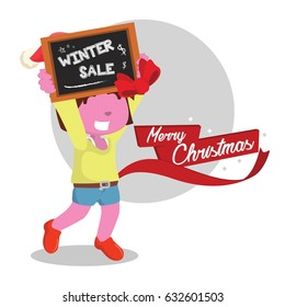 pink girl holding winter sale sign