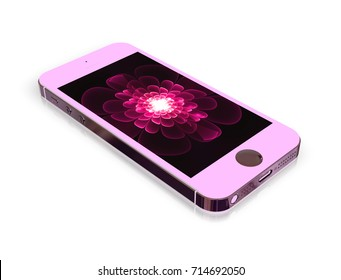 Pink Glamorous Smartphone Mockup with Amazing Screen for Design Project - Mock Up 3D illustration Isolate on White Background