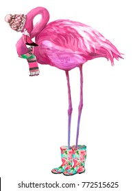 pink glamour flamingo with scarf