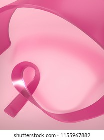 Pink glass ribbon on pink  background. Breast cancer awareness month