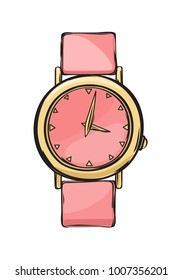 Pink and gold glamorous women watch isolated on background. Luxurious and trendy arm accessory for elegant and sophisticated look.  illustration of fashionable expensive wrist watch.