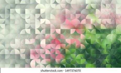 Pink and Green Abstract Quarter Circles Background