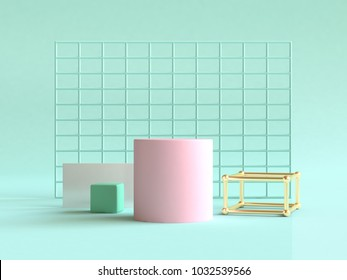 pink green gold geometric shape 3d rendering green background abstract still life scene