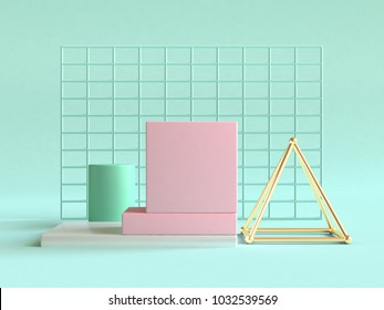 pink green gold geometric shape abstract still life scene 3d rendering green background