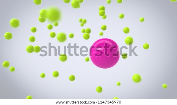 Pink and green spherical particles - 3D Illustration