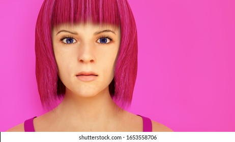 pink hair woman on pink background blunt haircut 3D illustration