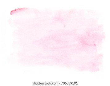 Pink hand painted watercolor background. Watercolour wash.