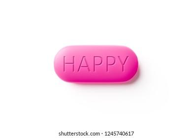 A pink happy pill macro 3d illustration