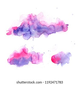 Pink haze. Ultra violet. Abstract paint spots on white background. Color watercolor stains and blots.