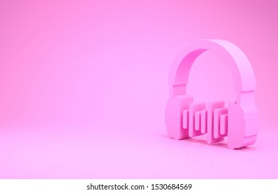 Pink Headphone and sound waves icon isolated on pink background. Concept object for listening to music, service, communication and operator. Minimalism concept. 3d illustration 3D render
