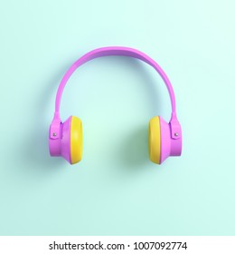 Pink headphones on bright background in pastel colors. Top view. 3d rendering
