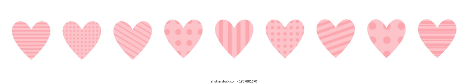 Pink heart icon set. Happy Valentines day. Cute polka dot, line pattern. Love sign symbol simple template. Greeting card. Decoration element. Square composition. Flat design. White background.