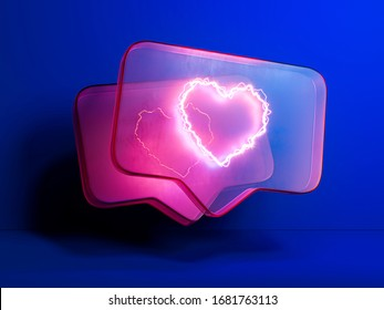Pink Heart Like Symbol or Icon In Message Notification. Speech Bubble on Blue Background. 3d rendering