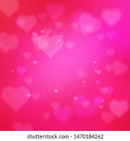 pink heart shape abstract bokeh background wtih glowing texture for Valentine's Day and christmas.