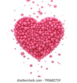 Pink heart shaped balls. Congratulations on Valentine's Day. On a white isolated background. 3D rendering