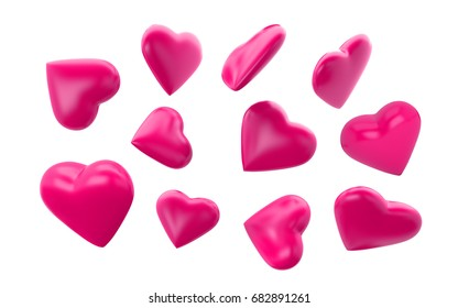 Pink hearts floating on white background. 3d render hearts with clipping path.