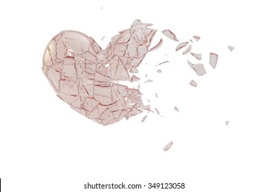 Pink heart-shaped glass, glass breakage.