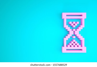 Pink Hourglass pixel with flowing sand icon isolated on blue background. Sand clock sign. Business and time management concept. Minimalism concept. 3d illustration 3D render