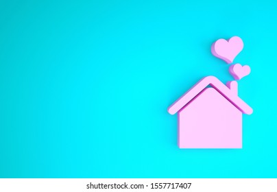 Pink House with heart shape icon isolated on blue background. Love home symbol. Family, real estate and realty. Minimalism concept. 3d illustration 3D render