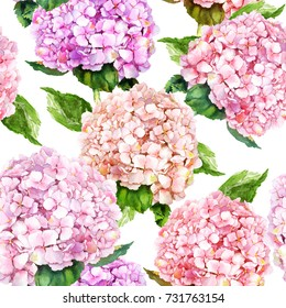 Pink hydrangea flowers. Repeating floral pattern. Watercolor