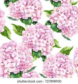 Pink hydrangea flowers. Seamless pattern. Watercolor.