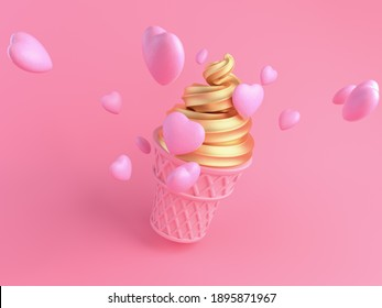 Pink ice cream with luxury gold cream to express sweetness of love. pink sweet dessert on pink background. happy valentine's day. 3d render