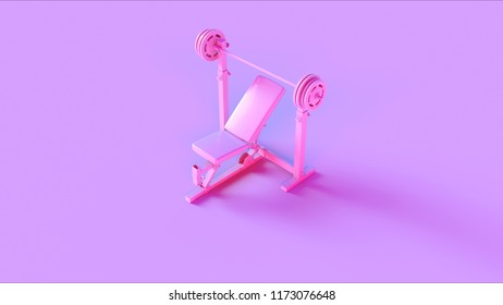 Pink Incline Weight Bench 3d illustration 3d rendering
