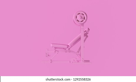 Pink Incline Weight Bench 3d illustration