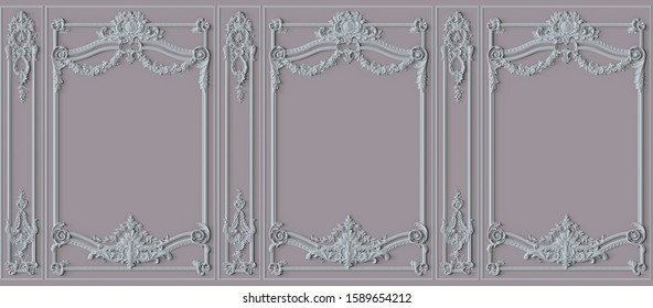 Pink Interior wall with molding. 3d illustration. Seamless pattern