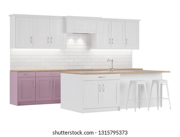Pink kitchen on a white background. 3D rendering.