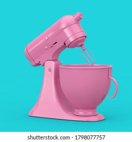 Pink Kitchen Stand Food Mixer in Duotone Style on a blue background. 3d Rendering