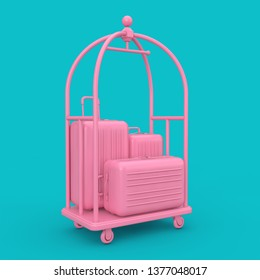 Pink Large Polycarbonate Suitcases in Pink Luxury Hotel Luggage Trolley Cart on a blue background. 3d Rendering