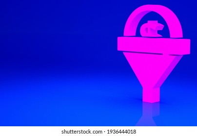 Pink Lead management icon isolated on blue background. Funnel with money. Target client business concept. Minimalism concept. 3d illustration 3D render.