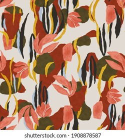 pink leaves and effect dress pattern design.