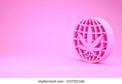 Pink Legalize marijuana or cannabis globe symbol icon isolated on pink background. Hemp symbol. Minimalism concept. 3d illustration 3D render